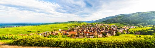 View of Riquewihr village in Alsace, France. Riquewihr typical and small medieval village, situated in Alsace region, France royalty free stock photo