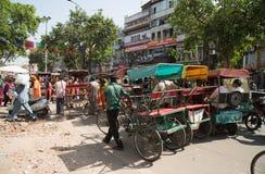Riquexós de ciclo em Deli, Índia imagens de stock royalty free
