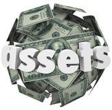 Riqueza do valor líquido do valor da bola da esfera do dinheiro da palavra dos ativos Imagem de Stock Royalty Free