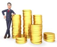 Riquezas de Coins Represents Profit do homem de negócios e rendição do tesouro 3d Fotos de Stock