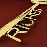 Riquezas riqueza de representação chave e tesouro Foto de Stock