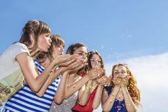 Rire heureux d'amie de femmes contre le ciel Photographie stock libre de droits