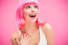 Rire rose de fille de cheveu Image stock