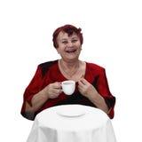 Rires supérieurs de femme Photographie stock libre de droits