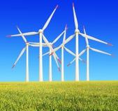 Ris brukar moderna vindturbiner Royaltyfria Foton