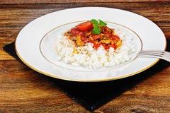 Ris med den på burk fisken i tomatsås Fotografering för Bildbyråer