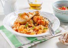 Ris med höna och grönsaker i tomatsås Arkivbild