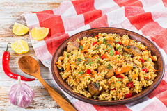 Ris med kött, peppar, grönsaker och kryddor på leramaträtt arkivbild