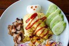 Ris med omelett Royaltyfri Fotografi