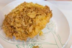 Ris och omelett Arkivfoto