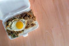 Ris som överträffas med stekt under omrörning griskött Royaltyfria Foton