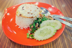 Ris som överträffas med stekt under omrörning griskött, basilika och det stekte ägget (solig sid Fotografering för Bildbyråer