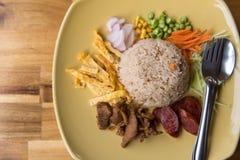 Ris som kryddas med räkadegrecept royaltyfria foton