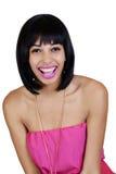 Risa abierta grande de la boca de la mujer joven del afroamericano Foto de archivo