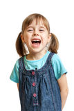 Risa bastante dulce de la chica joven aislada Imagenes de archivo