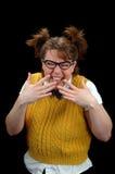 Risa de la muchacha del empollón Imágenes de archivo libres de regalías