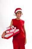 Risa del adolescente de la Navidad Fotografía de archivo libre de regalías