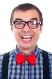 Risa divertida del hombre del empollón Foto de archivo libre de regalías