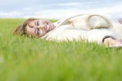 Risa feliz de la mujer Foto de archivo libre de regalías