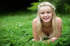 Risa hermosa de la muchacha Imagen de archivo