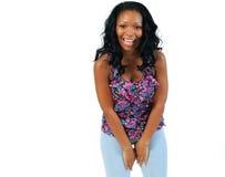 Risa joven hermosa de la mujer del African-American Imagen de archivo libre de regalías