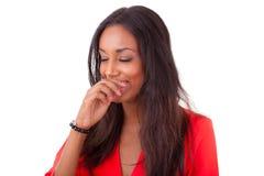 Risa joven hermosa de la mujer negra Foto de archivo