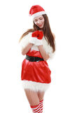 Risa roja del sombrero de Papá Noel Foto de archivo libre de regalías