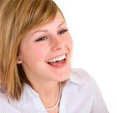 Risa rubia hermosa de la muchacha imágenes de archivo libres de regalías