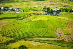 Risaie su a terrazze I campi sono preparati per la piantatura del riso Lim Mong, Huyen Mu Chang Chai, Vietnam del Nord immagine stock