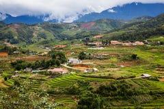 risaie verdi a terrazze nel villaggio di mA Tra, PA del Sa, Vietnam Fotografie Stock