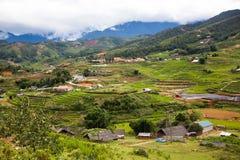 risaie verdi a terrazze nel villaggio di mA Tra, PA del Sa, Vietnam Fotografie Stock Libere da Diritti