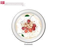 Risalamande ou pudim de arroz, sobremesa popular em Dinamarca ilustração royalty free