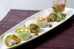 Risarket för den nya grönsaken rullar thai mat Royaltyfri Foto