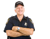 Risata dell'ufficiale di polizia Fotografia Stock