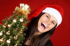 Risata della ragazza di Santa Claus Immagine Stock