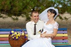 Risata dello sposo e della sposa Immagine Stock Libera da Diritti