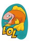 Risata felice degli scherzi dei pesci d'aprile, illustrazione del pesce di vettore Fotografia Stock
