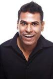 Risata indiana felice e bella dell'uomo Fotografie Stock