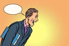 Risate dell'uomo d'affari un uomo allegro illustrazione di stock