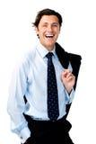 Risate fuori servizio del gestore Immagine Stock