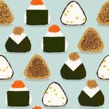 Risbollar Japansk kokkonst Fyra onigirityper stock illustrationer