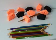 Risc a ferramenta feita pela impressora 3D e pelo lápis da cor, arte, escrevente, ferramenta, projeto, raphic, isolado, decoração fotografia de stock royalty free