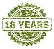 Riscado Textured 18 ANOS de selo do selo ilustração do vetor