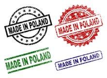 Riscado Textured FEITO em selos do selo do POLÔNIA ilustração royalty free