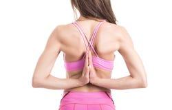 Riscaldamento personale della donna dell'istruttore di giovane forma fisica sana prima di addestramento di sport Femmina attiva d Immagine Stock Libera da Diritti