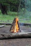 Riscaldando dal fuoco di accampamento Fotografie Stock