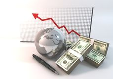Rischi la rappresentazione di concetto 3d di affari del grafico con i soldi di 100 dollari Immagini Stock