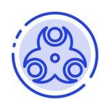Rischio, biologico, medico, linea punteggiata blu linea icona di salute illustrazione vettoriale