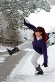 Rischio di incidenti nell'inverno immagine stock