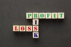 Risco, lucro e perda fotos de stock